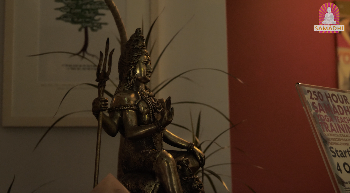 shiva statue in Samadhi yoga, temple bar