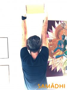 yoga brick to stretch and strengthen shoulders, in Samadhi yoga dublin