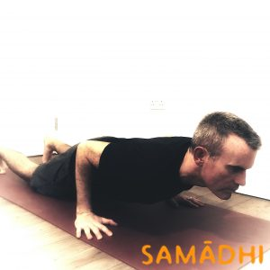 chaturanga with knees on floor